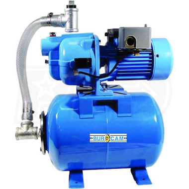Bur-Cam 13 GPM 1/2 HP Cast Iron Shallow Well Jet Pump w/ 6.6 Gal. Steel Tank (503127S or 506127S)